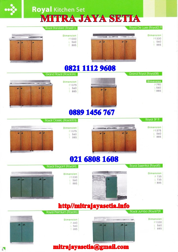 Harga kitchen sink royal 2015 images for Harga kitchen set murah