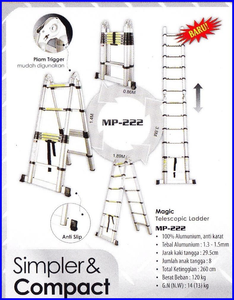 Tangga Lipat Telescopic Aluminum Liveo Mitrajayasetia Single Ladder 38m Lv 202 Ltangga 1 Multi Purpose